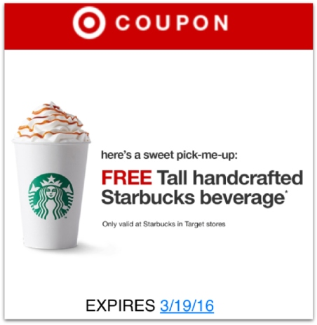 target possible free starbucks tall handcrafted beverage coupon