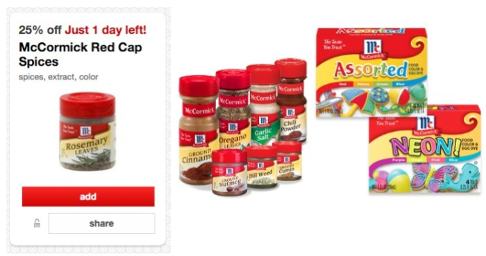 Target Cartwheel: 25% off McCormick Spices, Extracts and Food ...