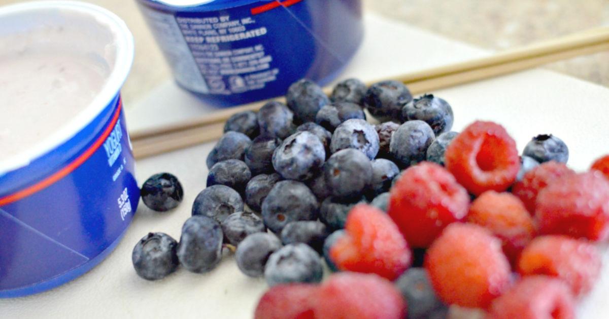 fruit kabob berries and yogurt cups