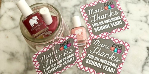 "Teacher Appreciation Gift Idea: ""Mani Thanks"" Manicure Jar with Free Printable Gift Tag"