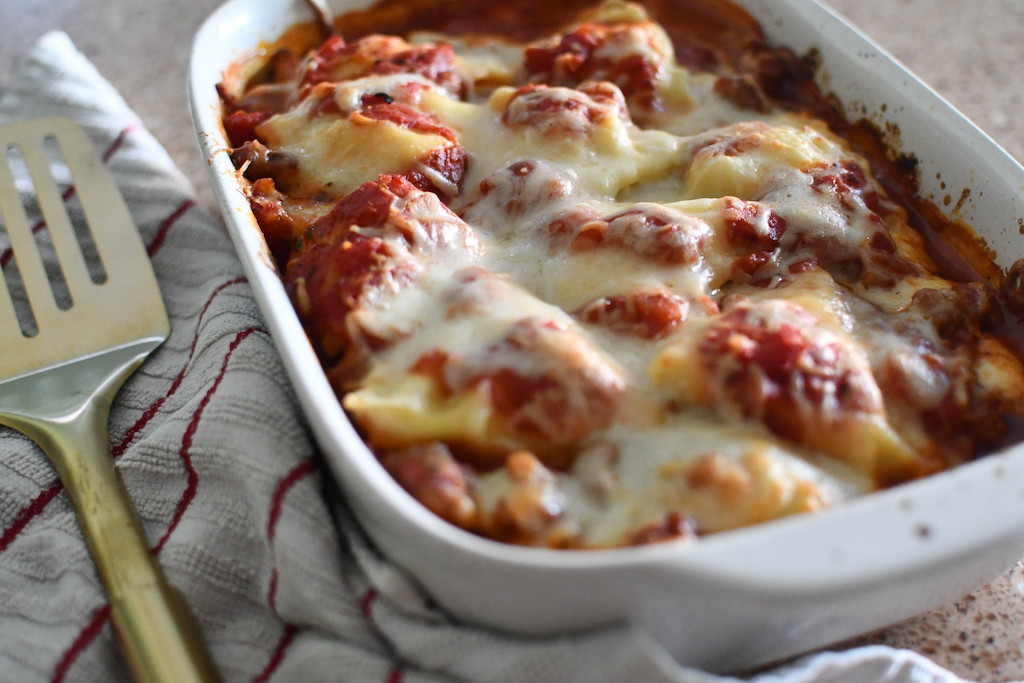ravioli lasagna bake in casserole dish