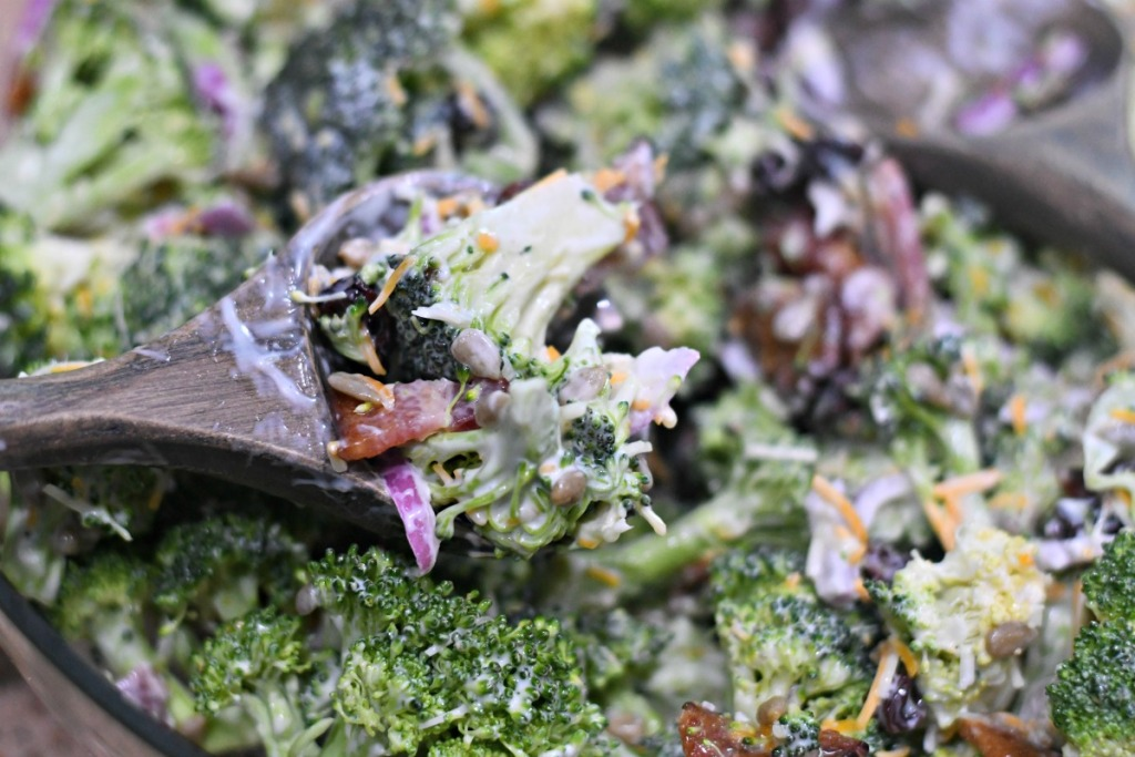 scoop of bacon broccoli salad