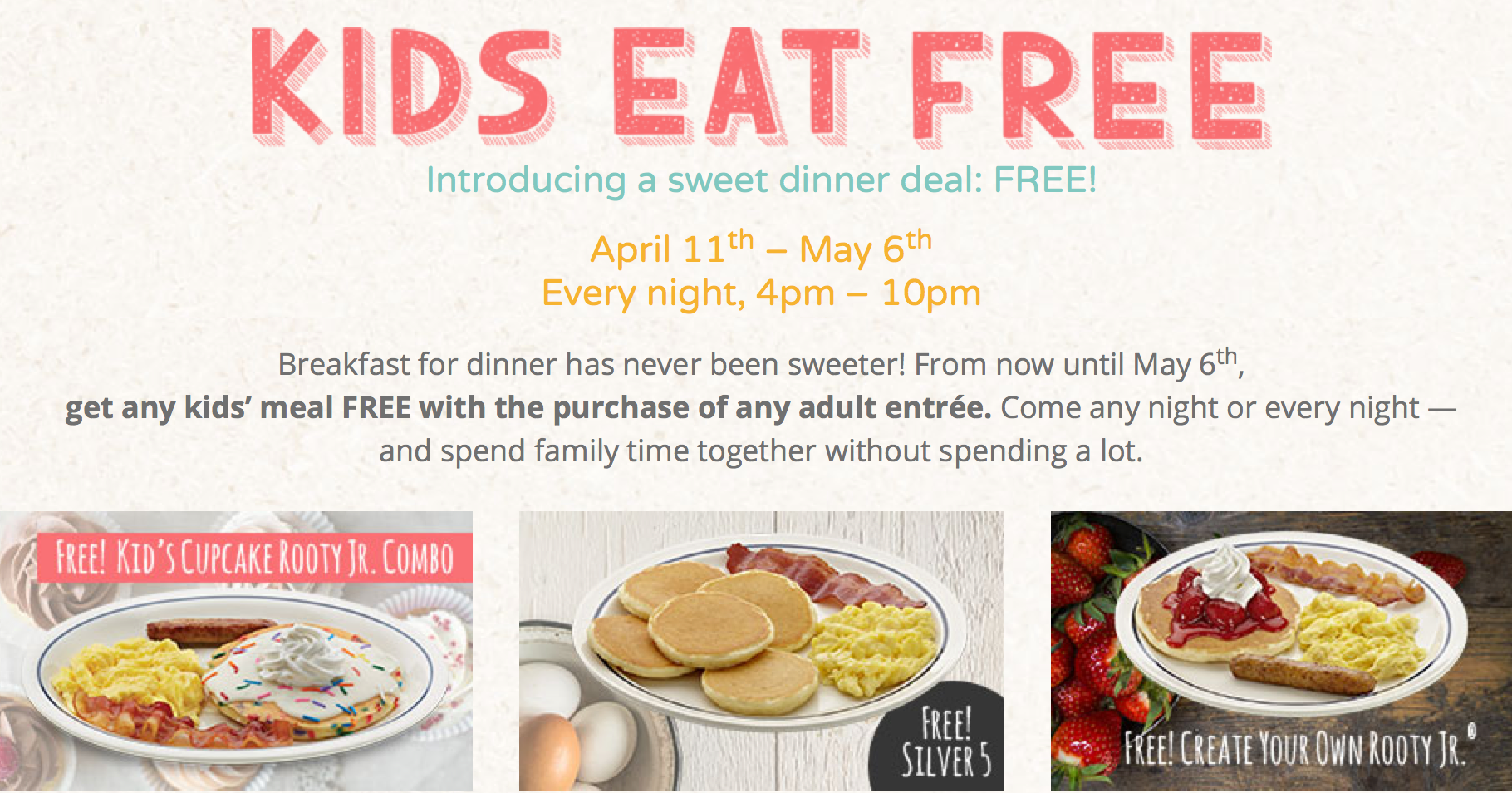 IHOP: FREE Kids\' Meal with Adult Entrée Purchase from 4-10PM (Valid ...