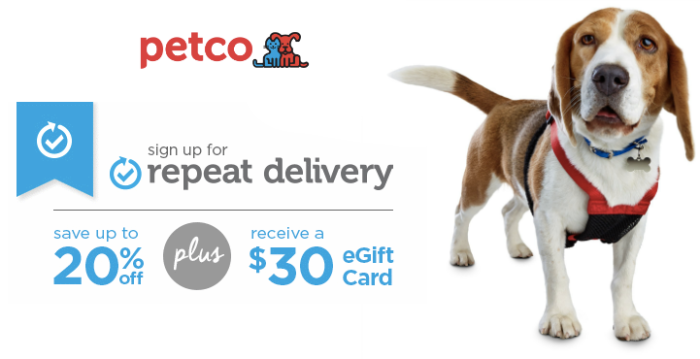 Petco: FREE $30 eGift Card With Repeat Delivery + Up to 20