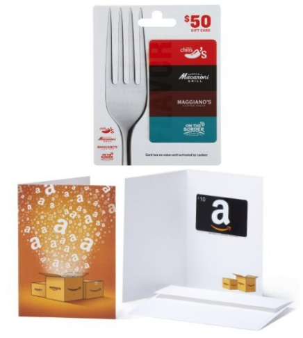 Brinker Gift Card and Amazon Gift Card