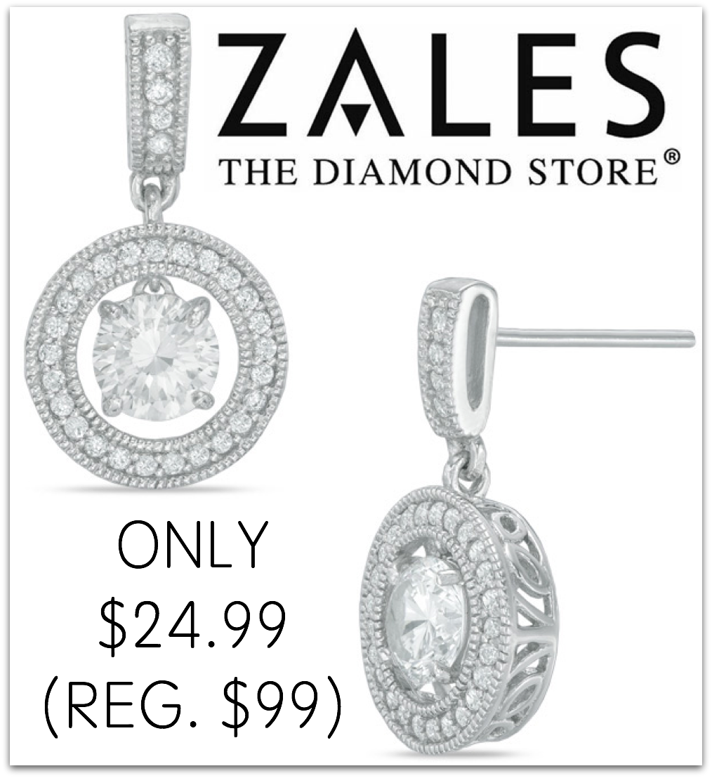 Zales White Sapphire Frame Vintage Style Drop Earrings