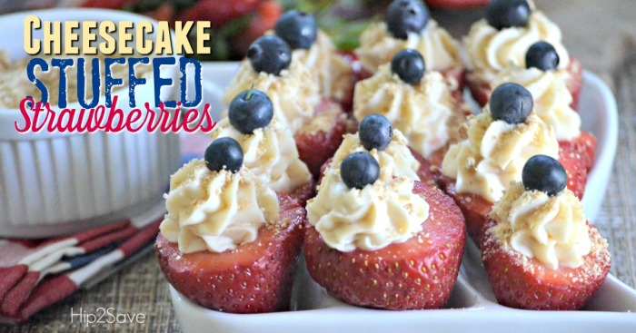 Cheesecake Stuffed Strawberries by Hip2Save.com