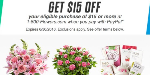 Paypal: Possible $15 Off $15 at 1-800-Flowers (+ Free Shipping Sitewide – Today Only)