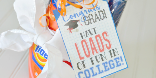 Graduation Gift Idea: Laundry Kit with Free Printable Gift Tag