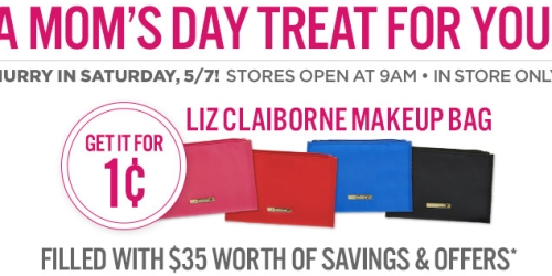 JCPenney: Liz Claiborne Makeup Bag ONLY 1¢ – In Store on Saturday (No Add'l Purchase Required)