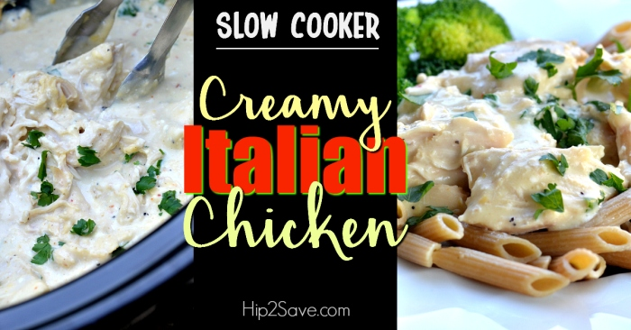 Easy Slow Cooker Creamy Italian Chicken (Just 5 Ingredients)