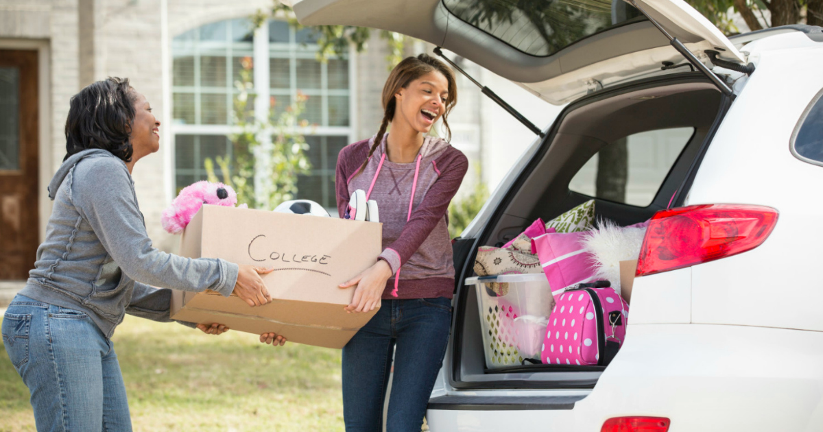 Things to take to college + 22 college student discounts & freebies – women packing a car