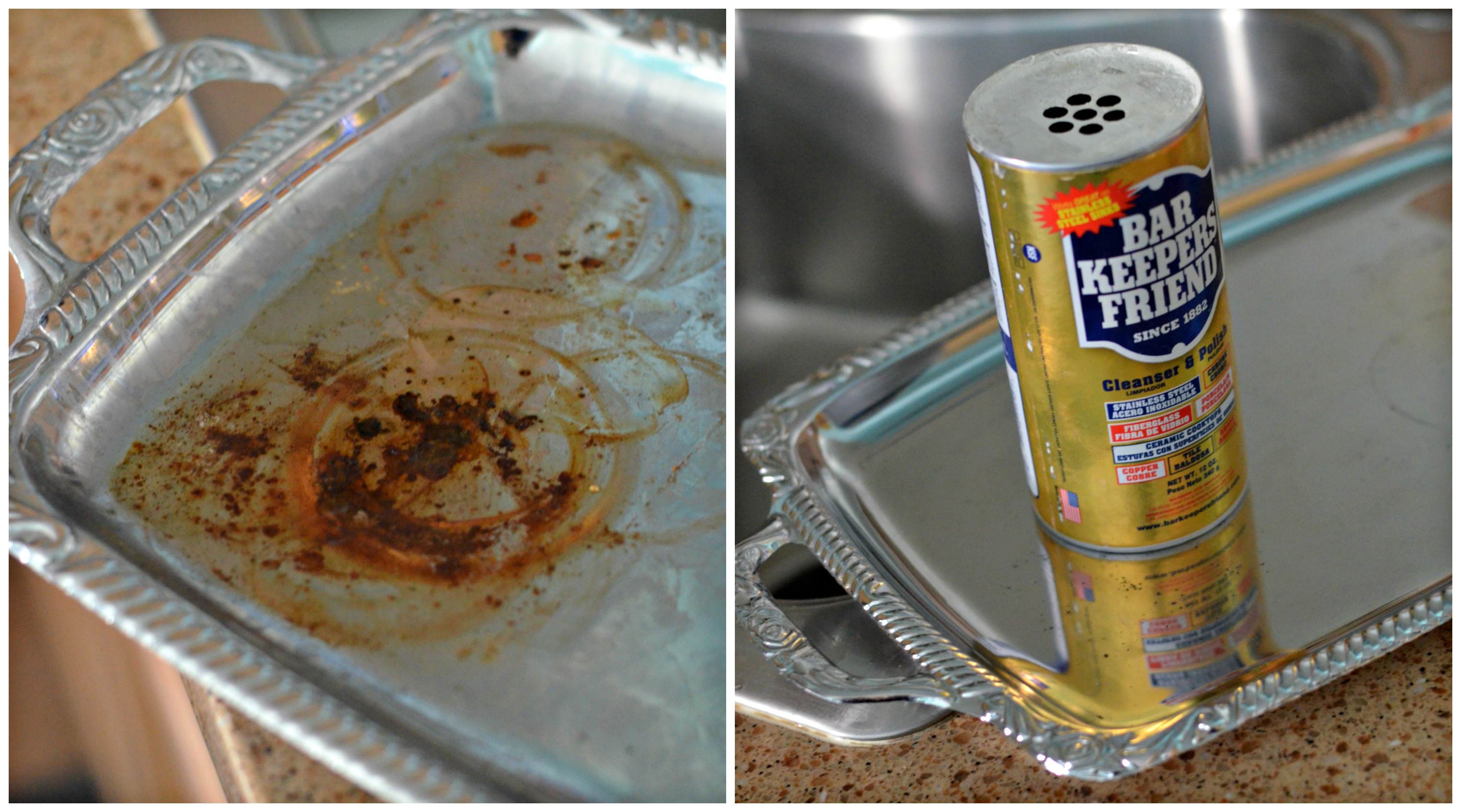 Bar Keepers Friend before and after on a serving tray