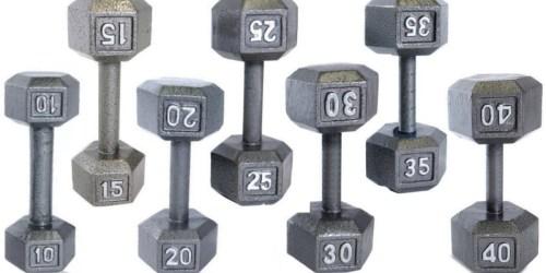 Walmart.com: Deep Discounts On CAP Barbell Cast Iron Hex Dumbbells (10-70 Pounds)