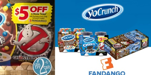 FREE $5 or $13 Fandango Movie Ticket Code With Select YoCrunch Yogurt Purchase
