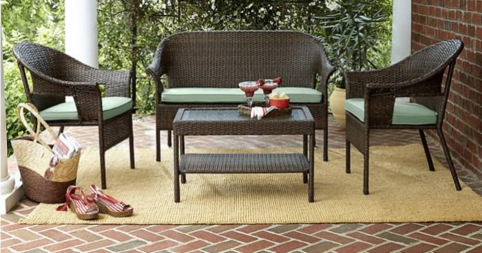 Kmart.com: 40% Off Patio Furniture = 4 Piece Wicker Set W/ Cushions ONLY $299 (Reg. $599)