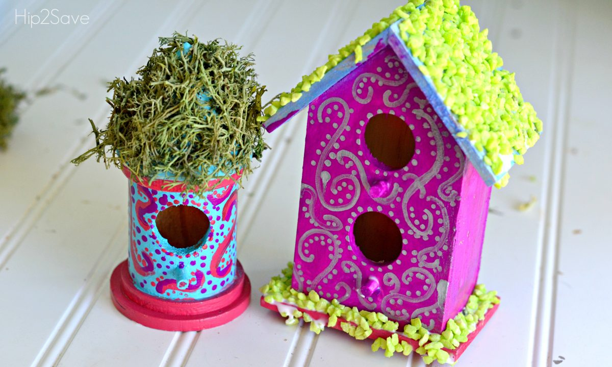 Painted Bird Houses for Fairy Garden