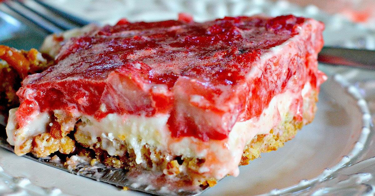 strawberry pretzel salad dessert on spatula