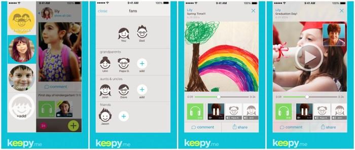 Screenshots of Keepy.me