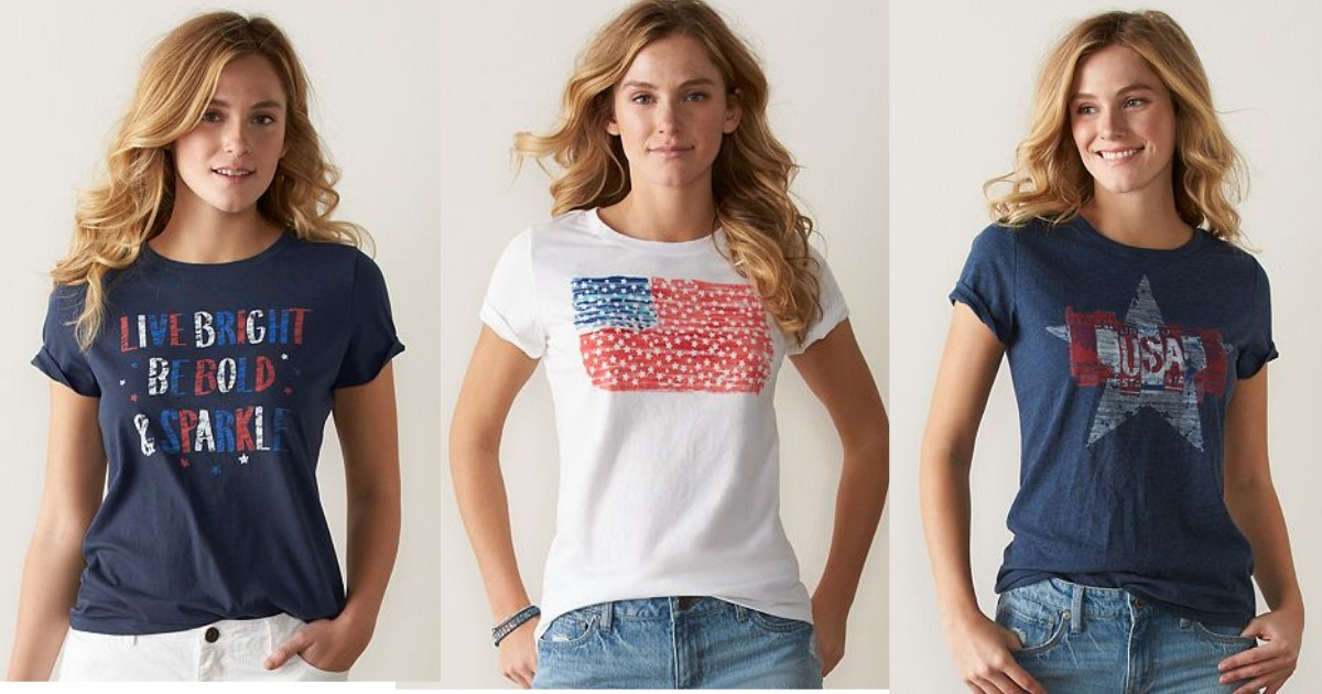 1b6dcb35c Kohl's Cardholders: Women's SONOMA Patriotic Graphic Tee's Only $3.49  Shipped - Hip2Save