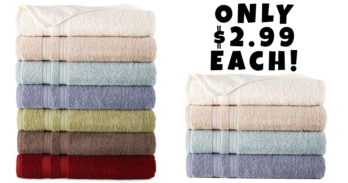 Jcpenney Home Expressions Bath Towels Only 2 99 Each