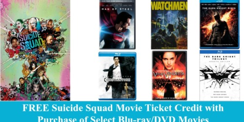 Amazon: FREE Suicide Squad Movie Ticket Credit with Purchase of Select Blu-ray/DVD Movies