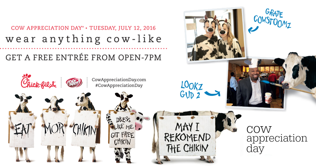 photo relating to Cow Appreciation Day Printable named Chick-fil-A Cow Appreciation Working day: Totally free Entree For ANY