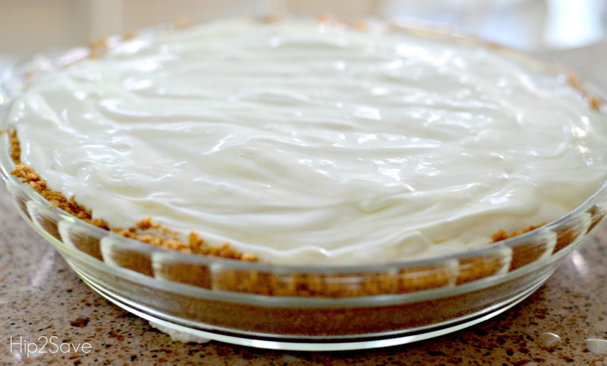 frozen lemonade pie recipe in a pie pan after cooling