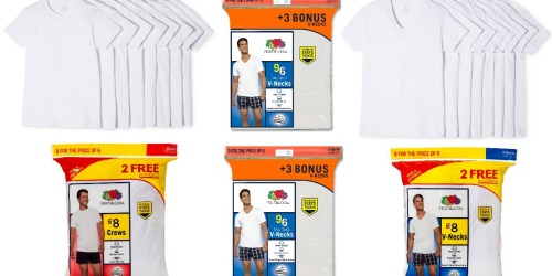 Walmart: Men's Fruit of the Loom V-Neck White T-Shirts Only $12.34 – Just $1.37 Per Shirt