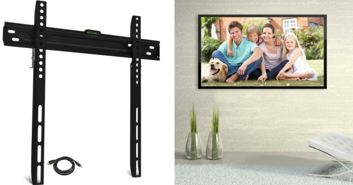 walmart low profile tv wall mount w hdmi cable only 9. Black Bedroom Furniture Sets. Home Design Ideas