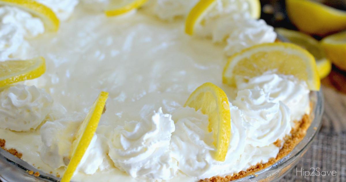 frozen lemonade pie recipe closeup in the pie pan