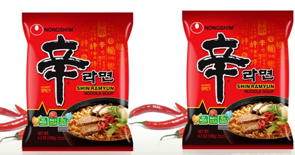 nongshim shin ramyun noodle soup stock images