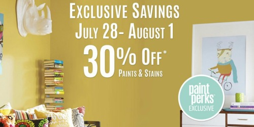 Sherwin Williams Paint Perks: 30% Off Paints & Stains July 28th – August 1st (+ $10 Off $50 Purchase Coupon)