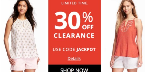 Old Navy: Extra 30% Off Clearance