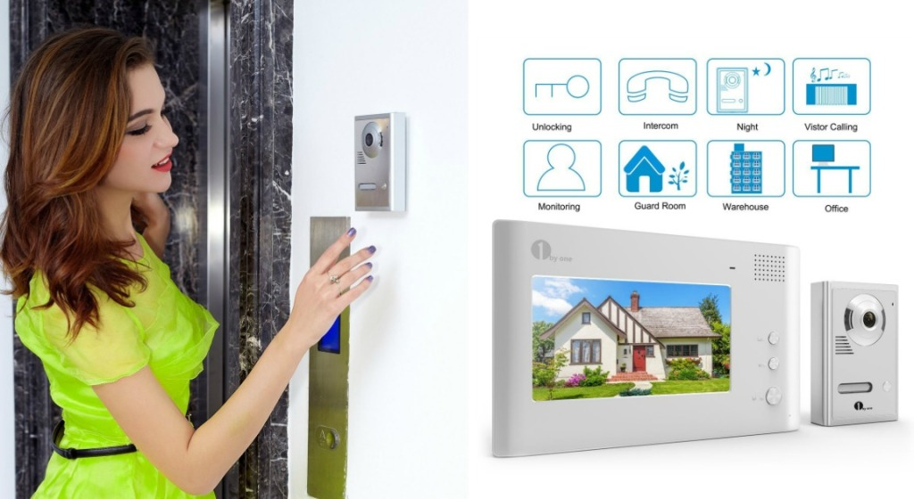 1byone 7-Inch Color LCD Wired Home Security Video Doorbell