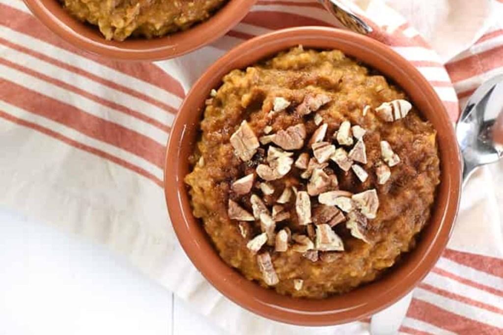 pumpkin pie oatmeal in rust-colored bowl