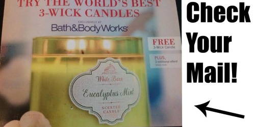 Bath & Body Works: Free 3-Wick Candle W/ ANY Purchase (a $22.99 Value!) – Check Your Mailbox