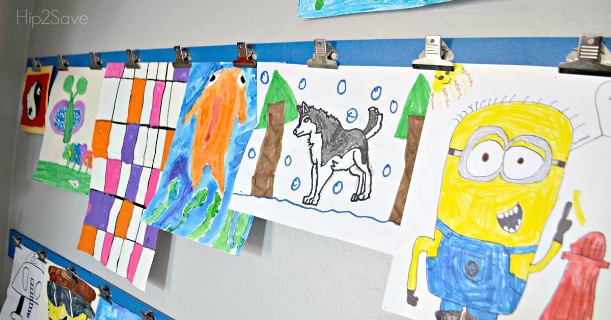 DIY Kids Art Wall with Target Clip Strips Hip2Save.com