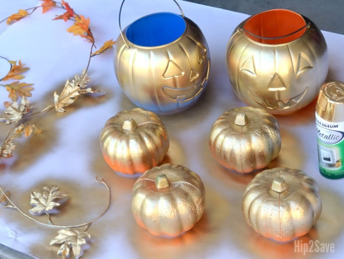 diy spray-painted pumpkins