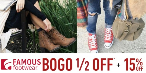 Famous Footwear: 15% Off Purchase Coupon + Buy One Get One 50% Off Shoes & Backpacks
