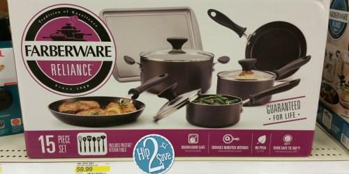 Target Cartwheel: 30% Off Farberware Cookware = 15-Piece Farberware Reliance Set Just $41.99