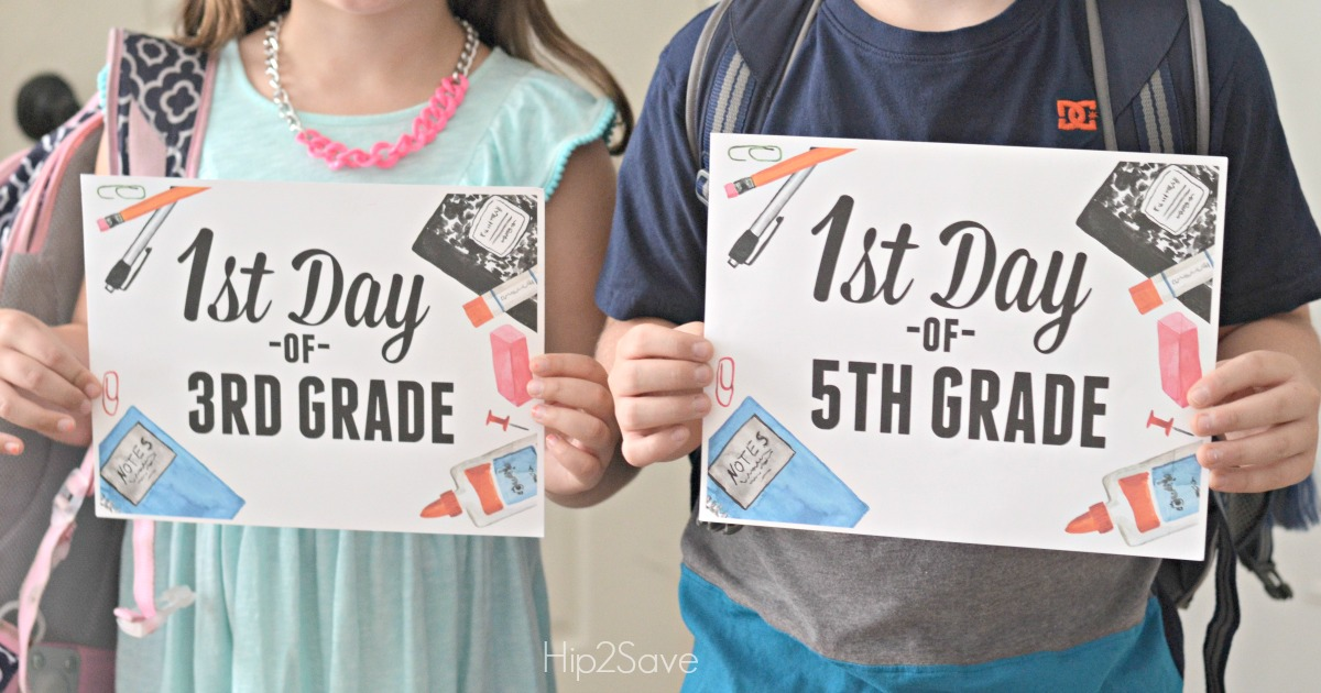 photo about First Day of School Sign Printable named No cost Very first Working day of Faculty Printable Indicators - Hip2Conserve
