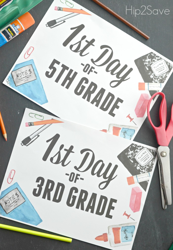 FREE Printable Signs to Use for 1st Day of School Hip2Save.com