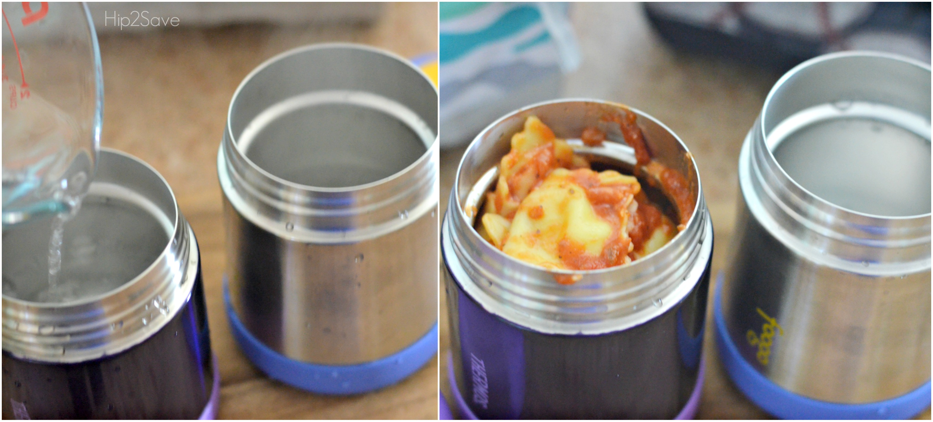 pouring warm water into a thermos to heat the thermos