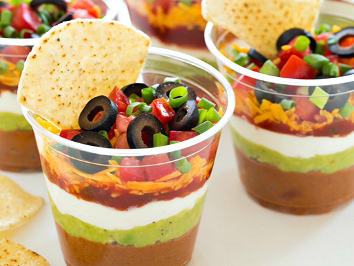 individual cups of bean dip