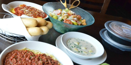 Olive Garden Fans! TWO Pasta Entrees AND Salad or Soup + 2 Breadsticks ONLY $10.39