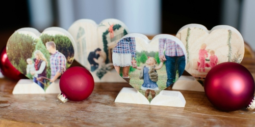 FIVE Custom Wooden Photo Hearts Just $6 Each Shipped (Regularly $30) – Great Holiday Gifts!