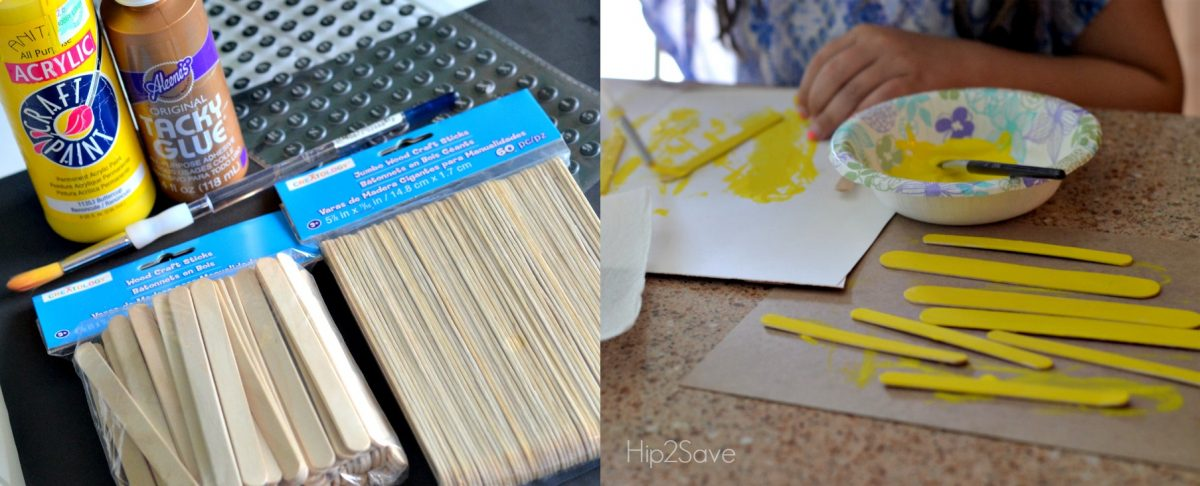 Popsicle school bus craft idea with yellow painted popsicle sticks