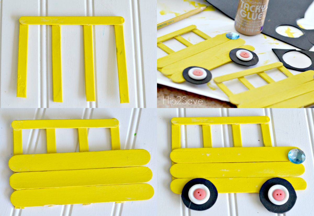 the four steps of assembling the school bus craft from yellow popsicle sticks