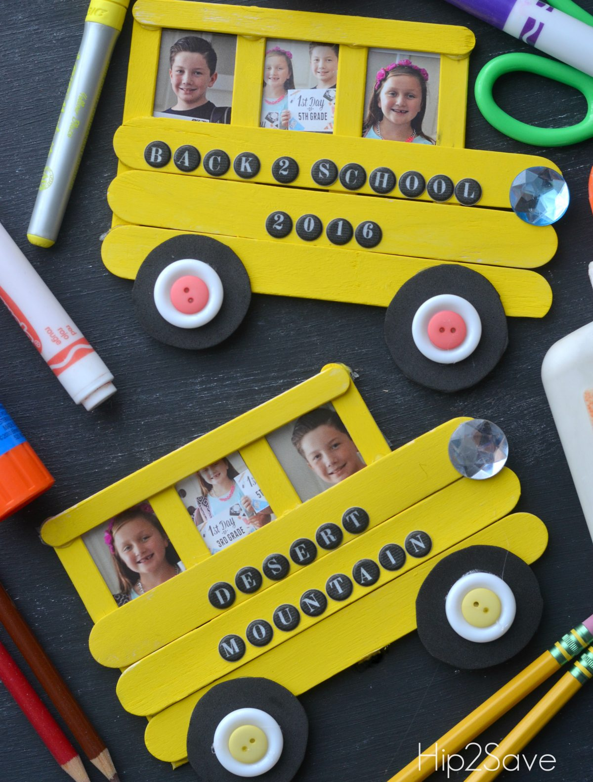 School Bus Craft from Craft Sticks with kids pictures inside